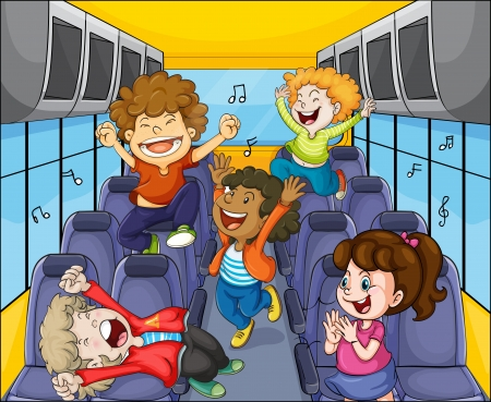 canta: illustrazione di un bambini in bus Vettoriali
