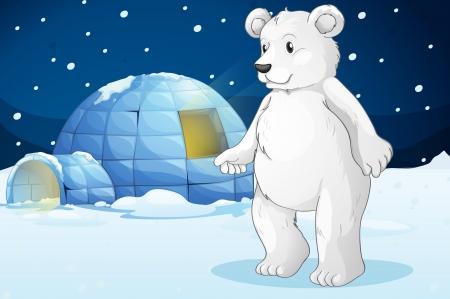 тундра: illustrtion полярного медведя и иглу Иллюстрация