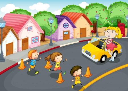 illustration of a kids crossing on road Illustration