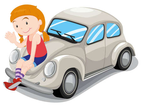 illustration of a girl and car on a white background Vector