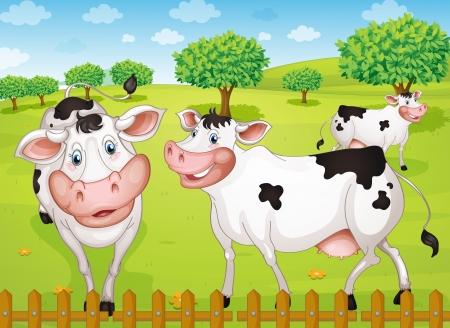 illustrtion krów wypasanych w Green Farm Ilustracje wektorowe
