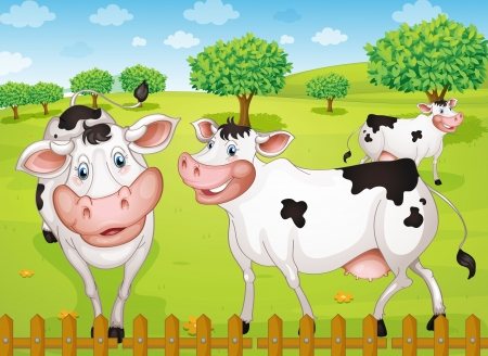 lanscape: illustrtion of cows grazing in green farm