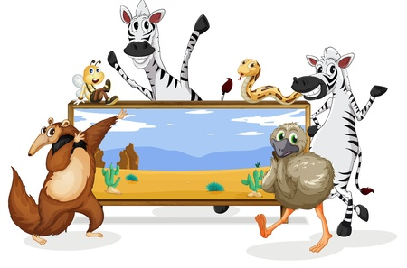 group picture: illustration of various animals and board on white