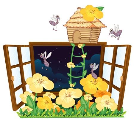 4 door: illustration of mosquito, bird house and window on white
