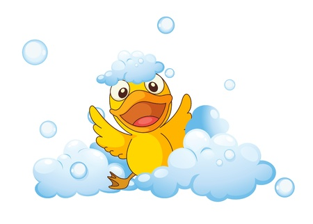 illustration of a yellow bird in the foam Vector