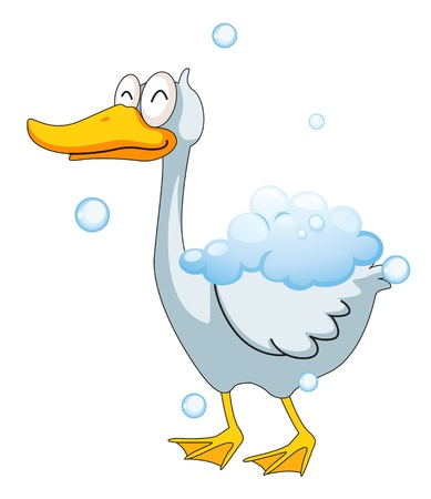 illustration of a duck in the foam Vector