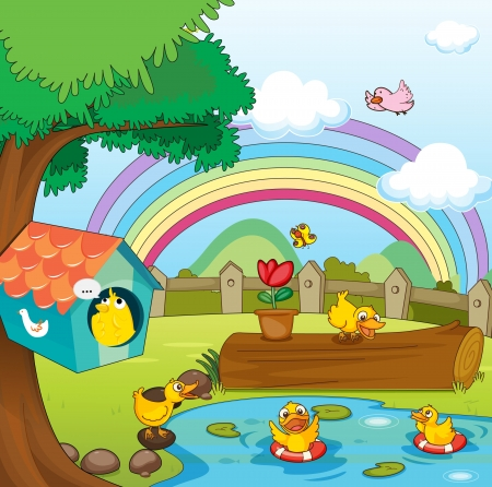 illustration of birds in beautiful garden and rainbow Vector