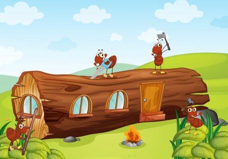 ants: illustration of ants and beautiful wooden house