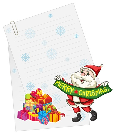 illustration of sntaclause, gift boxes and paper note on a white Vector