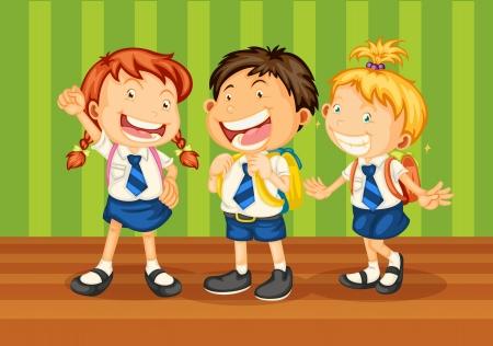 illustrtion de niños en uniforme escolar sobre fondo verde