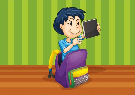 illustrtion of a boy in the bag on green background Vector