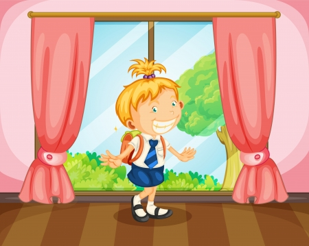 illustration of a girl with a bag near window Vector