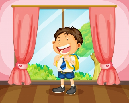 illustration of a boy with a bag near window Vector