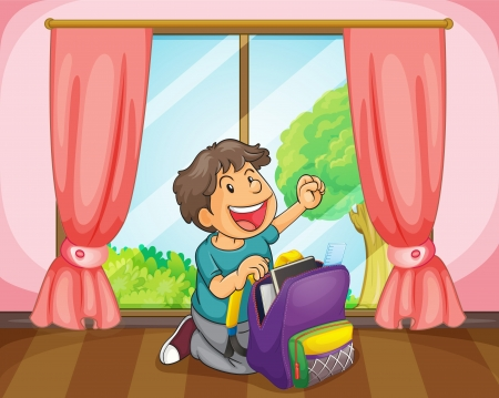 illustration of a boy with a bag near window Stock Vector - 14922260