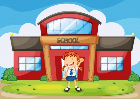 illustration of girl infront of school building Vector