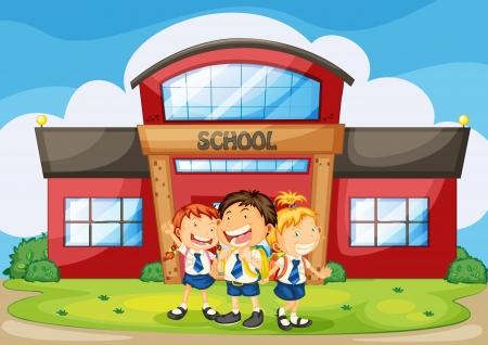cartoon school girl: ilustraci�n de los ni�os infront del edificio de la escuela