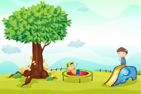 illustrtion of kids playing in pleasant nature Vector