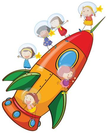 illustration of a kids on rocket on white background Vector