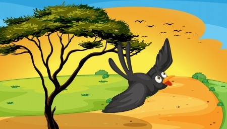 illustration of a bird flying near the tree Vector