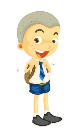 school uniform: illustrtion of a boy in school uniform on white Illustration