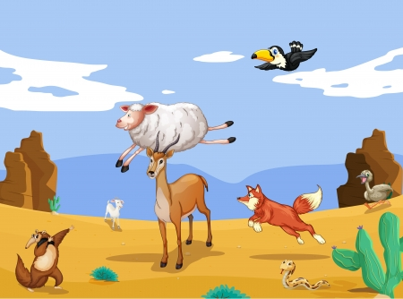 birds desert: illustration of various animals in beautiful nature Illustration