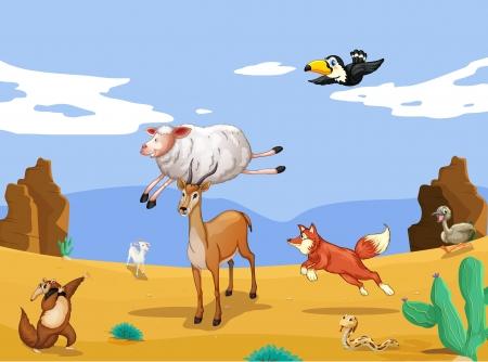 animales del desierto: ilustración de diversos animales en la naturaleza hermosa Vectores