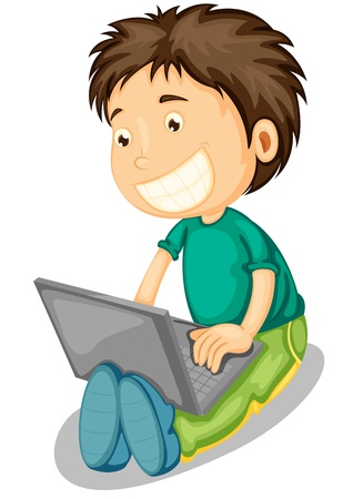 man using computer: illustration of a laptop and boy on a white background