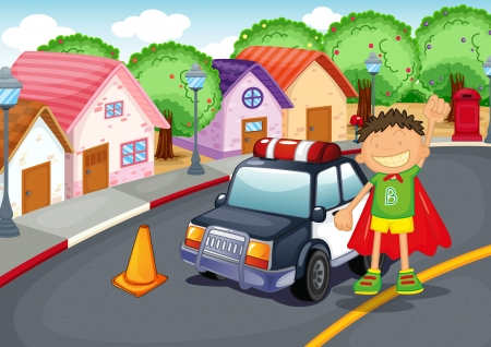 illustration of a boy and car on road Vector