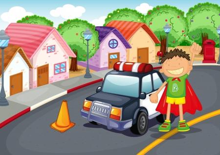 Illustrazione di un ragazzo e auto sulla strada