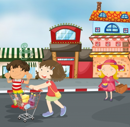 kid shopping: illustration of kids on road for outing
