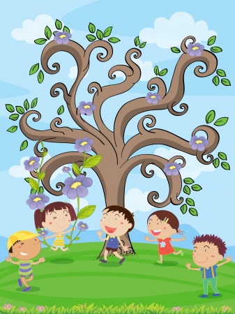 illustration of kids under a artistic tree Vector