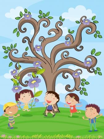 niños jugando caricatura: ilustración de los niños menores de un árbol artístico