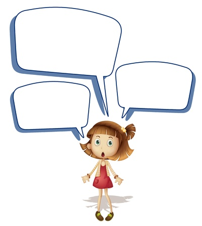 children talking: illustration of a girls and call out on a white background