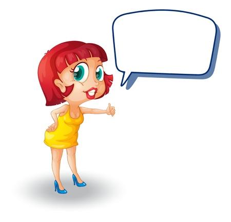 prostituta: ilustraci�n de una chica y gritar en un fondo blanco