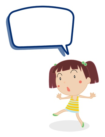 illustration of a girl and call out on a white background Vector