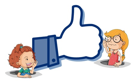 two thumbs up: illustration of a girls and thumb on a white background