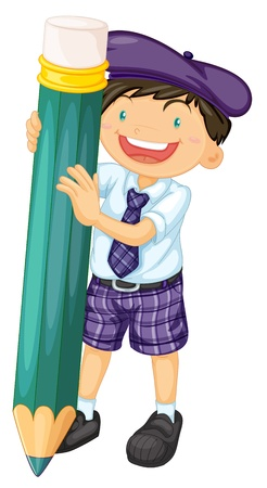 ni�os con l�pices: ilustraci�n de un muchacho con un l�piz sobre un fondo blanco