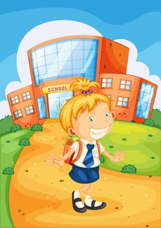 illustration of a girl infront of school building Stock Vector - 14922394