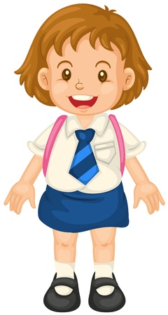 1 school bag: illustration of a girl on a white background