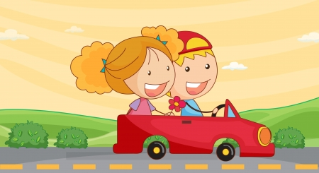 two roads: illustration of a kids in car on road