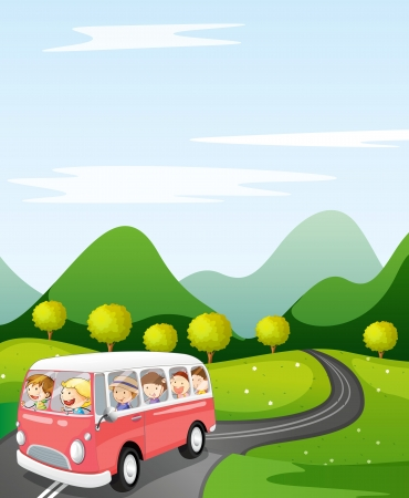 mountain holidays: illustration of a kids in a bus in a beautiful nature Illustration