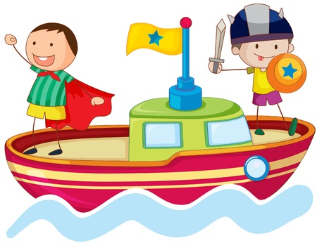 children acting: illustration of a kids playing on ship in water Illustration
