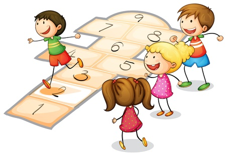 illustration of a kids playing a number game Illustration