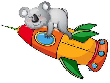 illustration of a bear on rocket on white background Vector