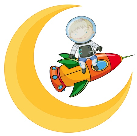 illustration of a moon and boy on rocket Vector
