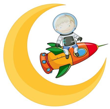 cohetes: ilustraci�n de una luna y un ni�o en el cohete