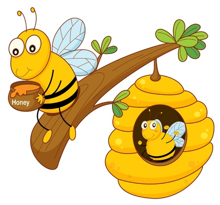 kid eat: illustration of a honey bee and comb on white