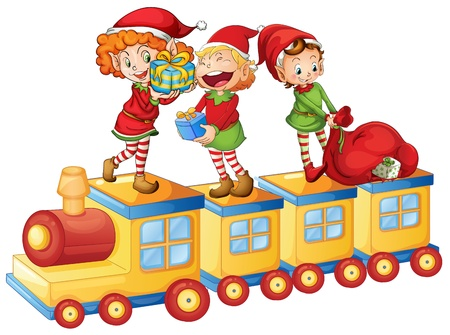 christmas costume: illustration of a kids playing on a toy train