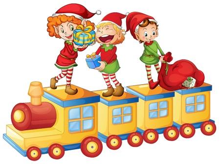 duendes de navidad: ilustración de unos niños jugando en un tren de juguete