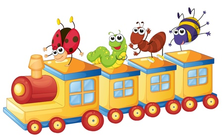 worms: illustration of a various insects on a toy train